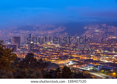 Cityscape of Medellin, Colombia taken at dusk - stock photo