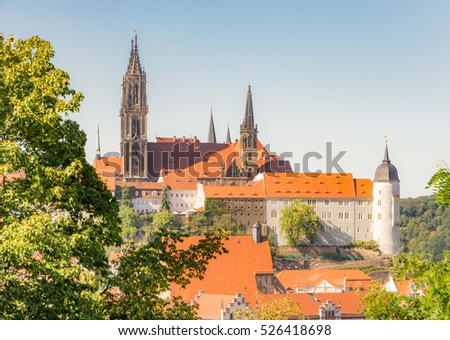 Cityscape of Meissen (Saxony, Germany) with the Albrechtsburg castle and the cathedral.