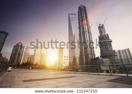 cityscape of modern city,shanghai - stock photo