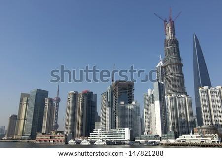cityscape of modern city shanghai - stock photo