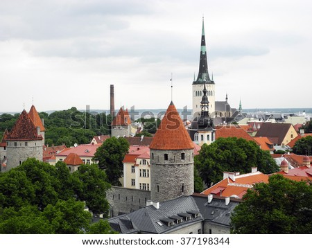 Cityscape of old city Tallinn in Estonia.