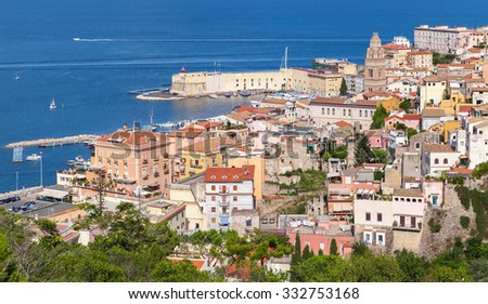 Cityscape of old coastal town Gaeta in summertime, Italy