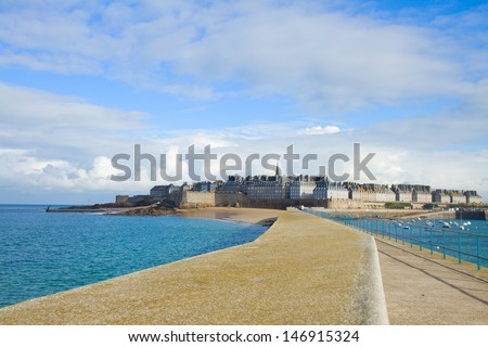 cityscape of  old town 'Intramuros' of  Saint Malo, Brittany, France - stock photo