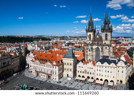 Cityscape of Old Town Square in Prague - stock photo