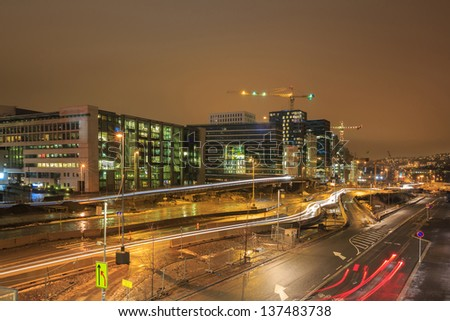 Cityscape of Oslo Downtown at night Norway - stock photo