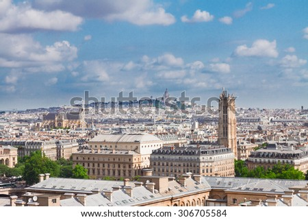 cityscape  of Paris  above  Mont Matre district, France