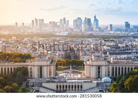 Cityscape of Paris City, France. View in northwest direction from the Eiffel tower viewpoint - stock photo