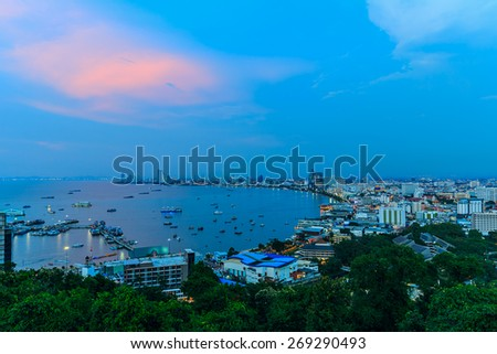 Cityscape of Pattaya at twilight