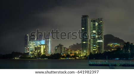 Cityscape of Penang Malaysia with reflection at Night