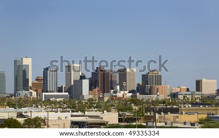 Cityscape of Phoenix Downtown in the Midst of Arizona Hot Summer