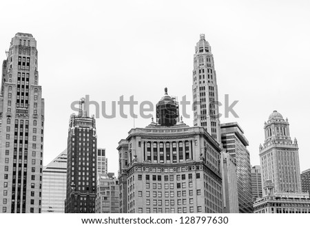 Cityscape of popular Chicago buildings in Loop district - stock photo