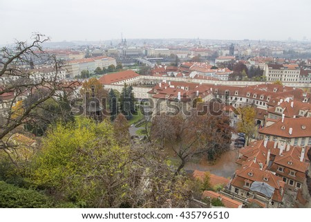 Cityscape of Prague from above, Czech Republic