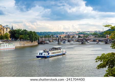 Cityscape of Prague. Panoramic view of Prague and river Vltava in Prague in summer - stock photo