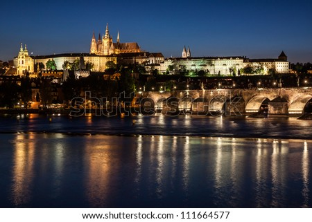 Cityscape of Prague with Castle and Charles Bridge at night, Czech Republic