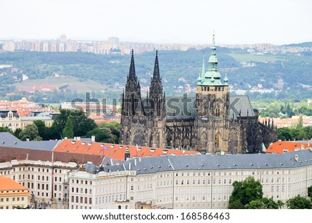 Cityscape of Prague with Saint Vitus cathedral
