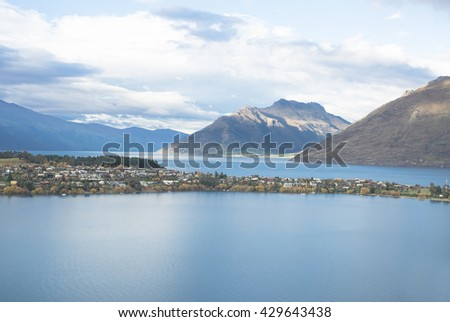 Cityscape of queenstown with lake Wakatipu , south island, new zealand - stock photo