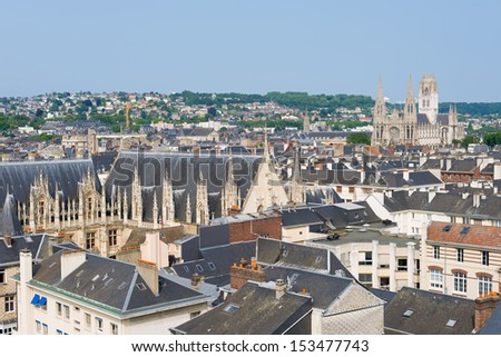 Cityscape of Rouen in a sunny summer day