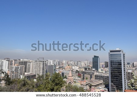 Cityscape of Santiago Chile, from Cerro Sta Lucia