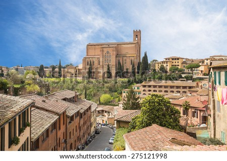 Cityscape of Siena in Tuscany, Italy. - stock photo