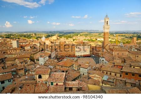 cityscape of Siena (toscana - italy) - stock photo