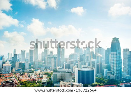 Cityscape of Singapore. Aerial view - stock photo