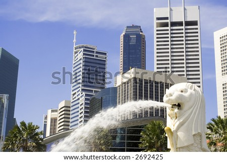 Cityscape of Singapore showing the Merlion and the financial district