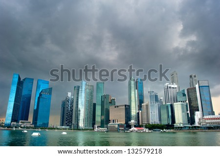 Cityscape of Singapore with moody sky