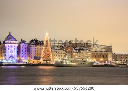 Cityscape of Stockholm city at night with Christmas tree Sweden