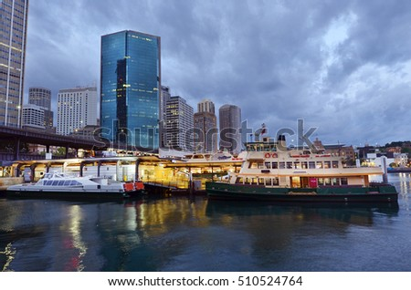 Cityscape of Sydney Circular Quay at dusk in Sydney New South Wales, Australia.