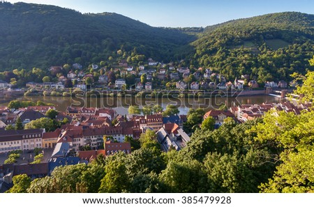 Cityscape of the Heidelberg, Germany , form the castle hill - stock photo