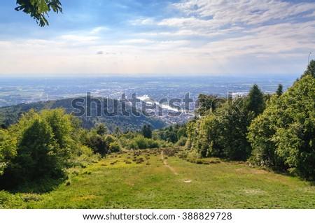 Cityscape of the Heidelberg, Germany , form the Koenigstuhl  - stock photo