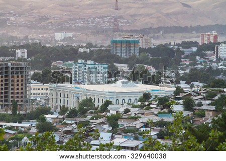 Cityscape of the Tajik capital - Dushanbe. Tajikistan, Central Asia - stock photo