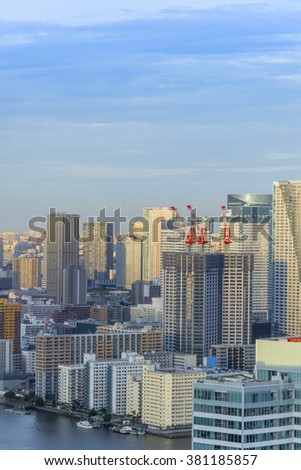 Cityscape of Tokyo City, Japan - Tokyo is the world's most populous metropolis and is described as one of the three command centers for world economy. Tokyo Skyline.