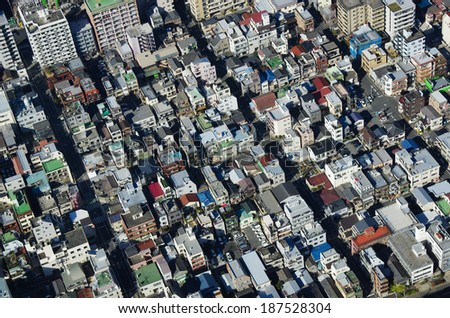 Cityscape of Tokyo in Japan from skytree - stock photo