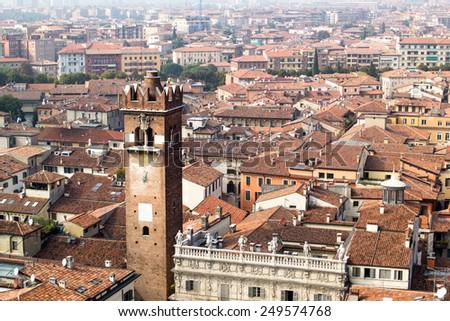 Cityscape of Verona from tower clock of Lamberti Tower.Italy - stock photo