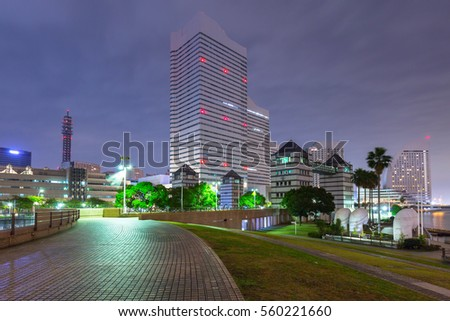 Cityscape of Yokohama city at night, Japan