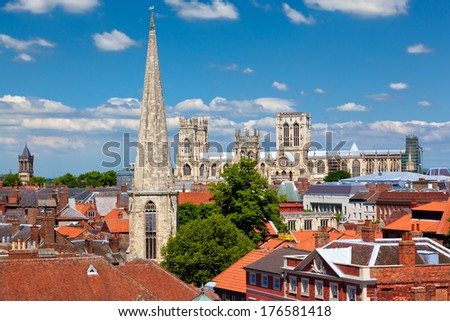 Cityscape of York, a town in North Yorkshire, England - stock photo