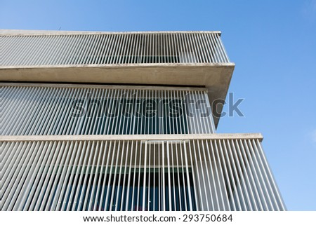 Cityscape office buildings with modern corporate architecture background blue sky. - stock photo