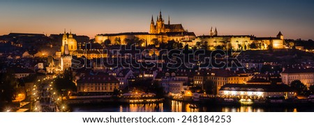 Cityscape panorama of Prague with Castle.