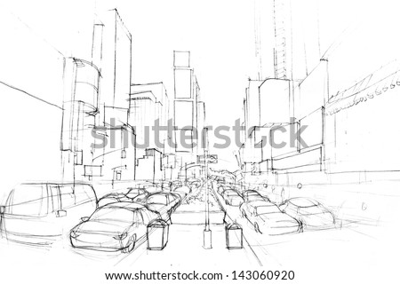 Cityscape pencil drawing - stock photo