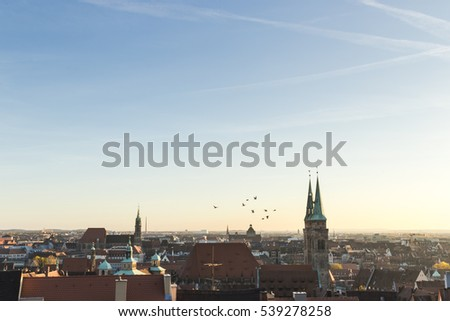 Cityscape, Roofs of Nuremberg, Bavaria, Germany,