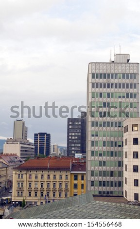 cityscape rooftop view of office buildings apartments condos business  Ljubljana Slovenia Europe Slovenian architecture - stock photo