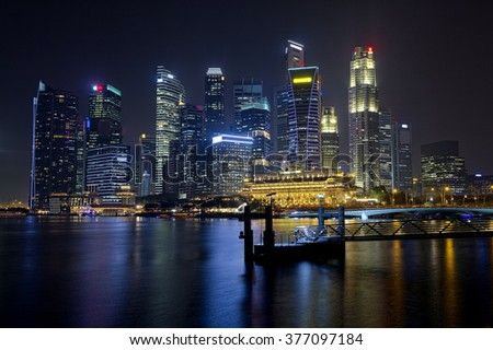 Cityscape Singapore Panoramic Night Concept. Travel