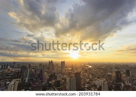 Cityscape sunset in Bangkok, Thailand - stock photo