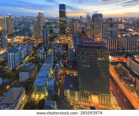 Cityscape sunset time - stock photo