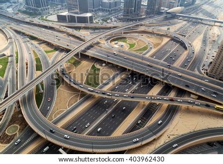 cityscape  traffic of highway and bridge, logistics - stock photo