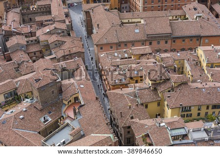 "Cityscape view from ""Due torri"" or two towers, Bologna, province Emilia-Romagna, Italy"