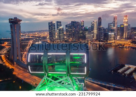 Cityscape view from Singapore Flyer - stock photo