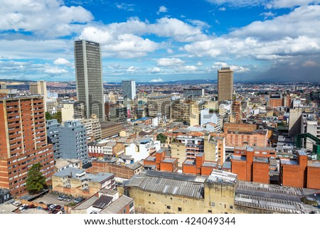 Cityscape view of downtown Bogota, Colombia - stock photo