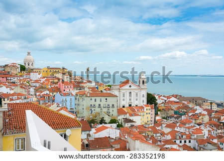 Cityscape view of Lisbon Portugal over the Alfama District. - stock photo